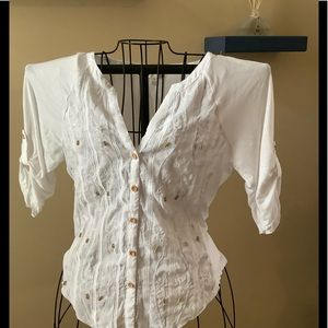 White Shirt with Beads. Sz M